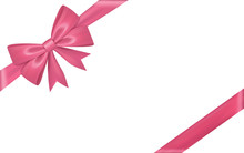 Gift Bow Ribbon Silk. Pink Bow Tie Isolated White Background. 3D Gift Bow Tie For Christmas Present, Holiday Decoration, Birthday Celebration. Decorative Satin Ribbon Element Vector Illustration