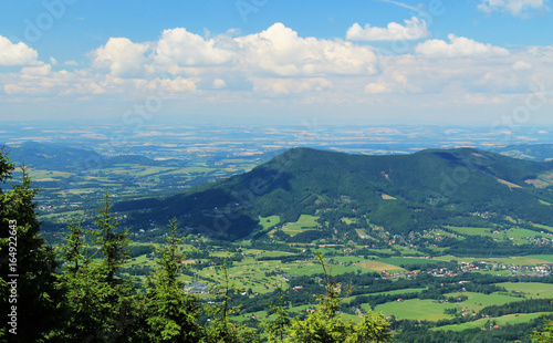 landscape of Beskydy mountains with green forests on nice summer day