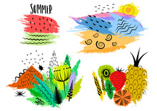 Vector Set Of Hand Drawn Colorful Summer Emblems, Stickers, Prints On T-shirts With Black Patterns And Structures On Colored Blots.
