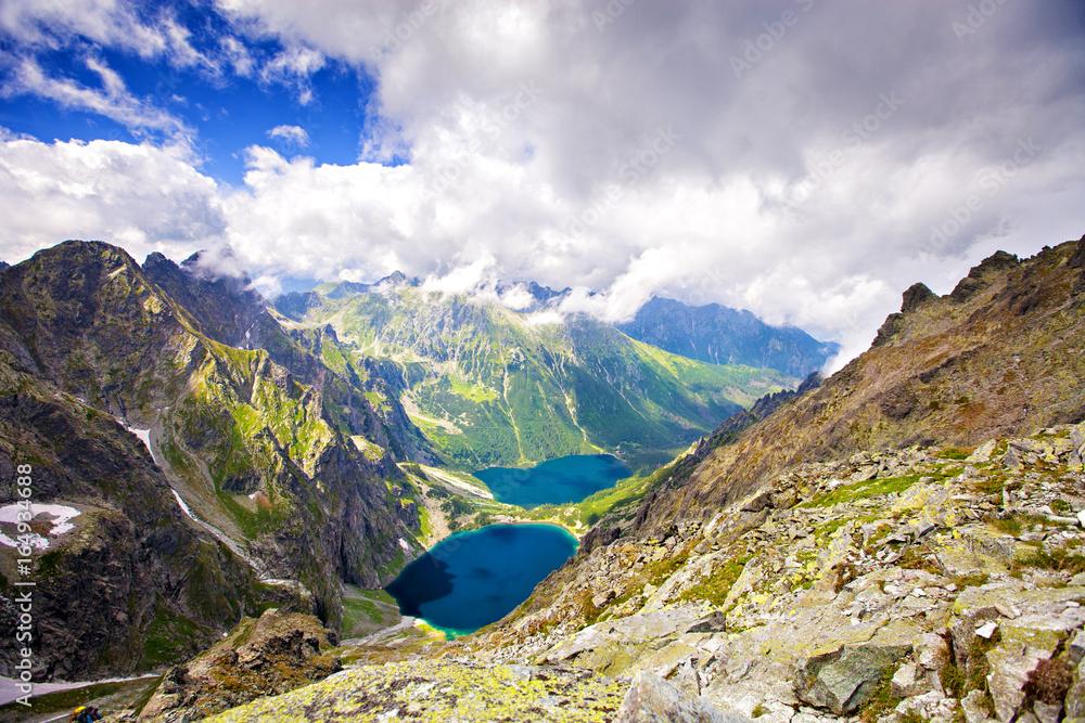Fototapety, obrazy: Marine Eye and Black Pond Rysy mountain. Tatras, Poland, Europe. Mountain landscape. Two lakes in mountains. road to the Rysy.