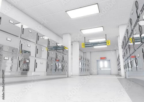 Carta da parati A look down the aisle of fridges in a clean white ward in a mortuary - 3D render