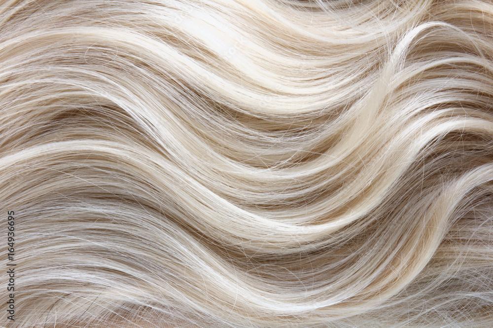 Fototapeta Female blonde curly  hair texture