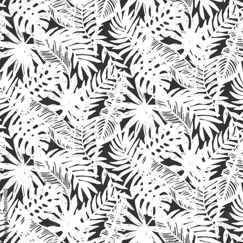 Cotton fabric Tropical leaves seamless pattern