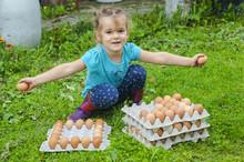 Little Girl Holding Chicken Eggs