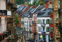 Residential Buildings Along The Street In Wiesbaden City Center, Hesse, Germany.