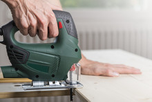 Sawing Wood With Jig Saw