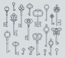 Antique Keys Set. Hand Drawn M...