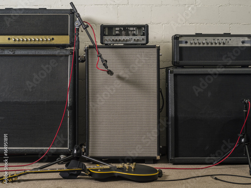 Photo Guitar amplifiers in recording studio