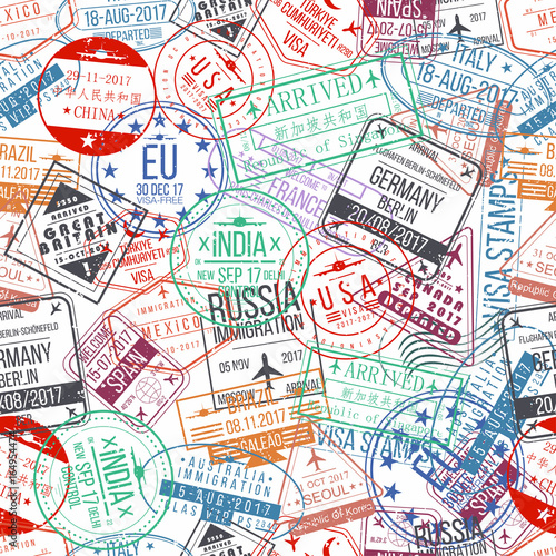 Fototapeta Passport stamp seamless pattern