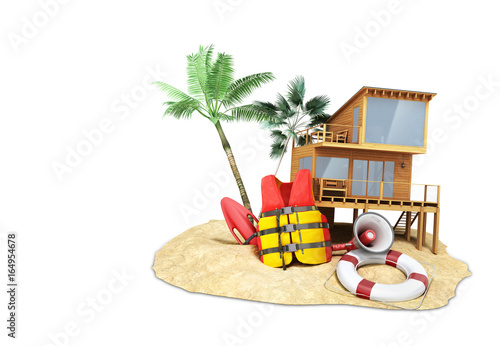 Photo Secure beach concept Life jacket life ring and a horn and other objects on the s