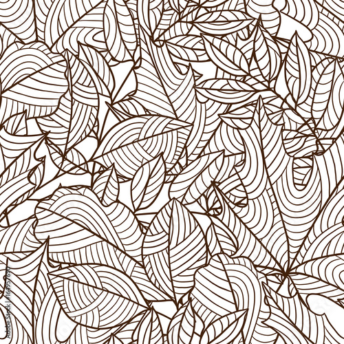 Seamless floral pattern with stylized autumn foliage. Falling leaves Wall mural