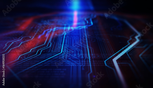 Red, blue technology background/Orange and blue technology background circuit board and code