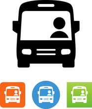 City Bus With Driver Icon - Il...