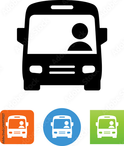 Photo City Bus With Driver Icon - Illustration