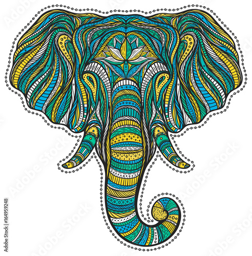 stylized-ethnic-boho-elephant-portrait
