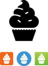 Cupcake With Sprinkles Icon - ...