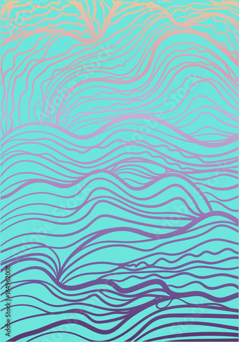 Gradient pattern with wavy lines, waves - 164962008