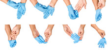 Step Of Hand Throwing Away Blue Disposable Gloves.