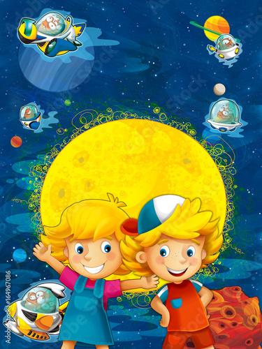 Cadres-photo bureau Cosmos cartoon solar system - astronomy for kids - illustration for the children