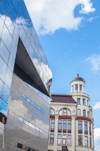 New Vs Old Concept Architecture Blue Building All Glass Square