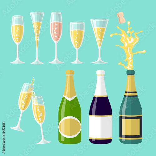 Slika na platnu vector illustrations of several champagne flat celebration