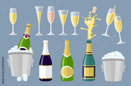 Fotomural  Champagne bottle and glasses, set of cartoon vector illustrations isolated on grey background