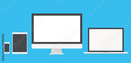 Obraz Set of computer monitor, laptop, tablet and mobile phone with blank screen. Flat style - stock vector. - fototapety do salonu