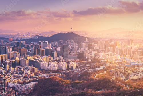 Photo sur Aluminium Seoul Sunset at Seoul City Skyline, The best view of South Korea.