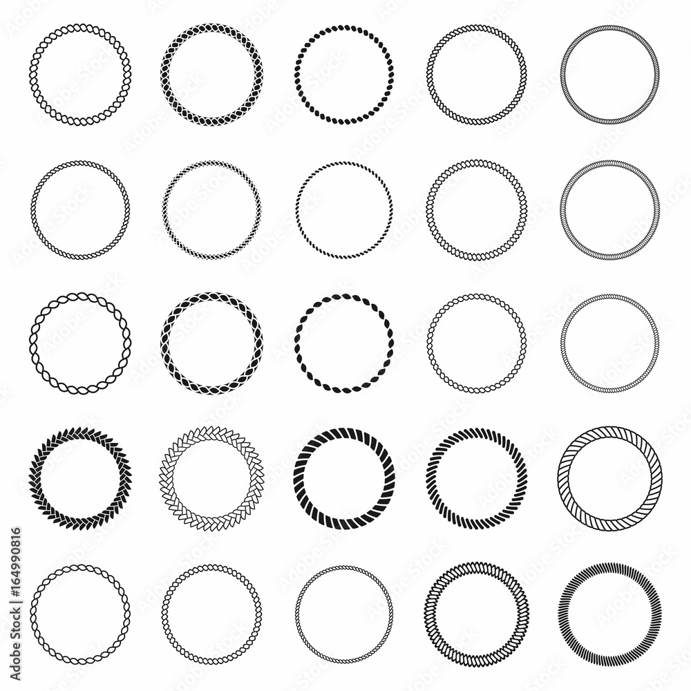 Fototapety, obrazy: Rope frame. Set of round vector frames from nautical rope. Round marine rope for decoration