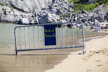 Nude Beach Sign At Beach