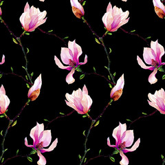 Panel Szklany Kwiaty Seamless pattern with branches of pink magnolia isolated on a black background. Invitation. Wedding card. Birthday card.