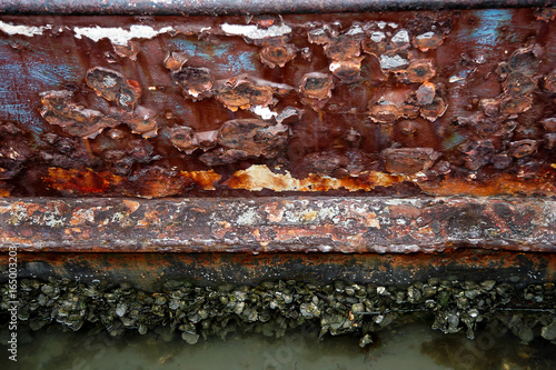 Photo Ship rust with mussels and barnacles.
