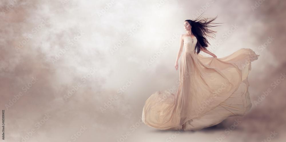 Fototapety, obrazy: Fashion model in beautiful luxury beige flowing chiffon dress