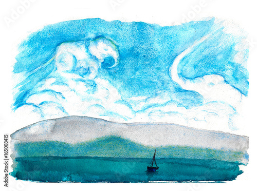 In de dag Fantasie Landschap Daydream. Cloud elephants