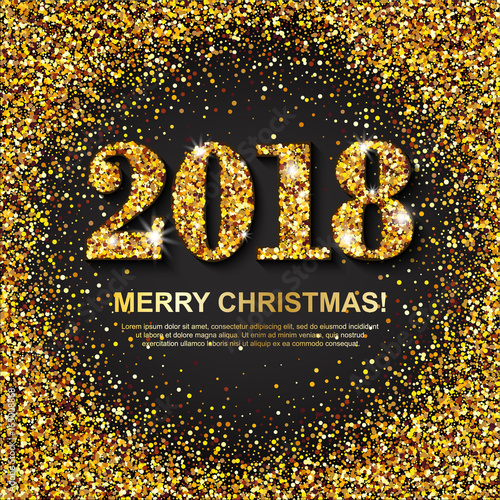 2018 merry christmas greeting card with gold numbers and scattered golden circles on black background