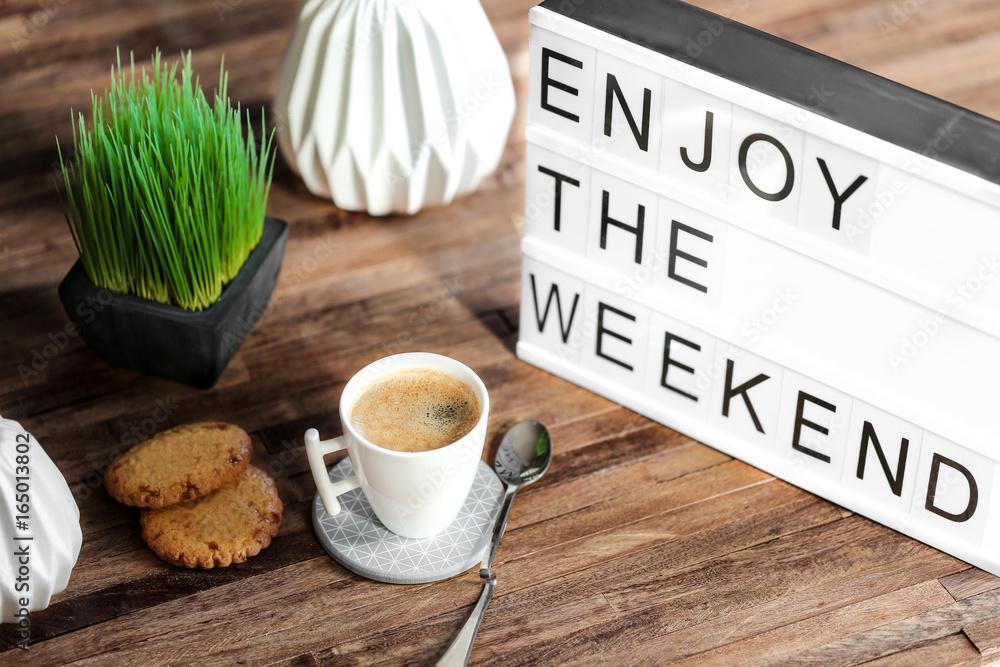Fototapety, obrazy: lightbox message : enjoy the weekend