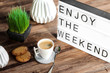 canvas print picture - lightbox message : enjoy the weekend