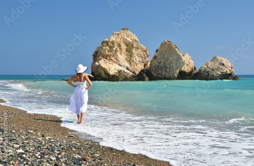 Girl looking to the sea near Aphrodite birthplace, Cyprus Canvas Print