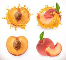 Peach Juice. Fresh Fruit, 3d V...