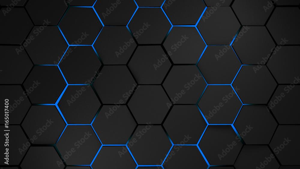 Fototapeta grey and blue hexagons modern background illustration