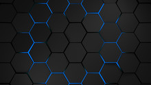 Grey And Blue Hexagons Modern Background Illustration