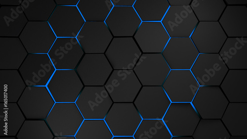 Fototapety One Color   grey-and-blue-hexagons-modern-background-illustration