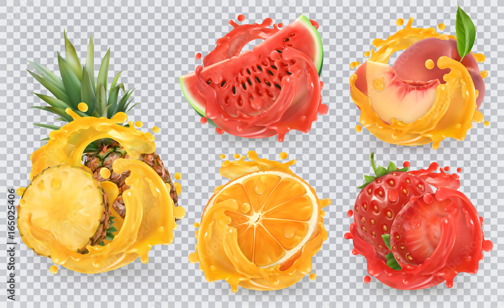 Strawberry, pineapple, orange, watermelon, peach juice. Fresh fruits and splashes, 3d vector icon set