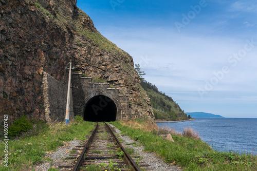 Tunnel in the rock on the Circum-Baikal railway