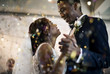 canvas print picture - Newlywed African Descent Couple Dancing Wedding Celebration