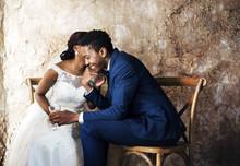 Newlywed African Descent Couple Wedding Celebration