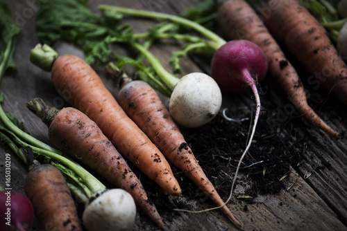 Closeup of carrots and beets on wooden table