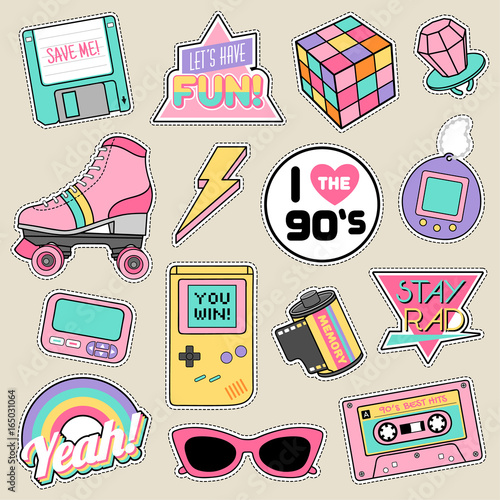 Fotografia  Set of fashion patches, cute pastel badges, fun icons vector