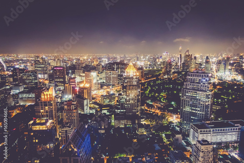 Photo  The beautiful landscape of Bangkok at night.