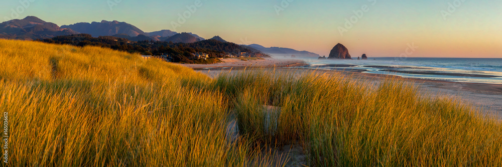 Fototapety, obrazy: Looking south to Cannon Beach and Haystack Rock in Cannon Beach, Oregon